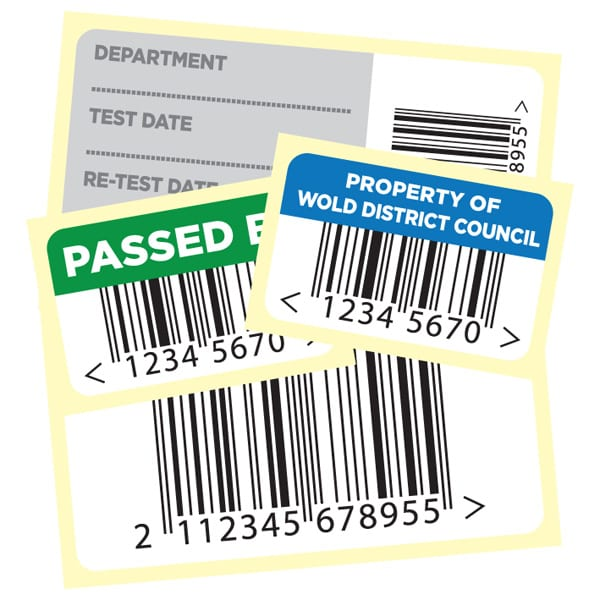 range of asset labels, asset security labels and barcode labels