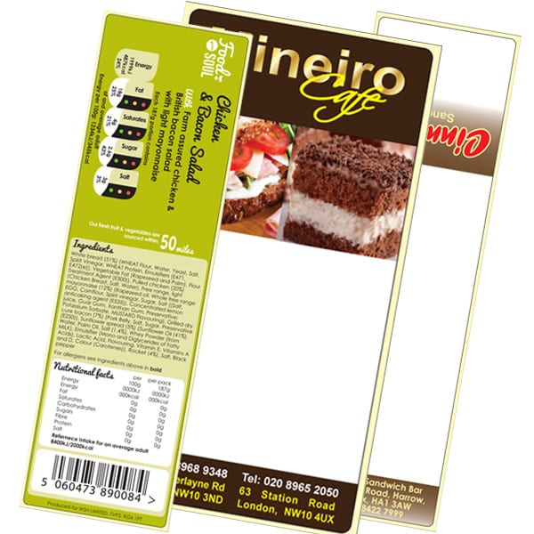 plain and pre-printed sandwich labels