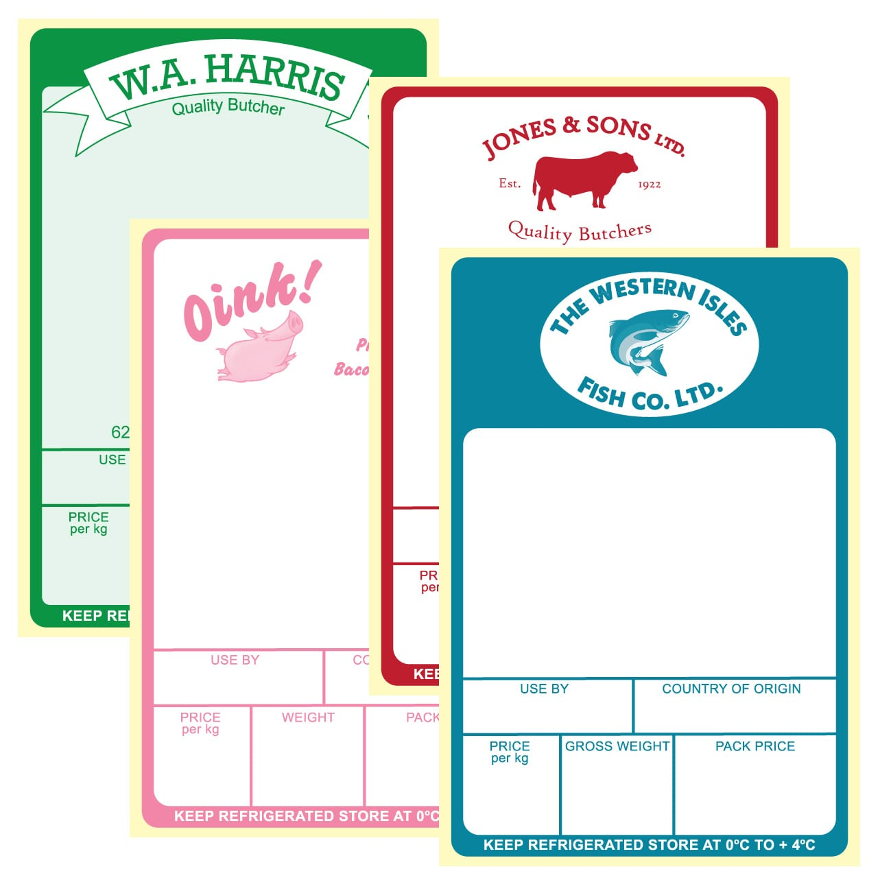 image of a few price weigh labels, butchers labels and meat labels Product Image