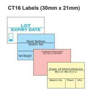 CT16 Labels - 30mm x 21mm Label Gun Labels