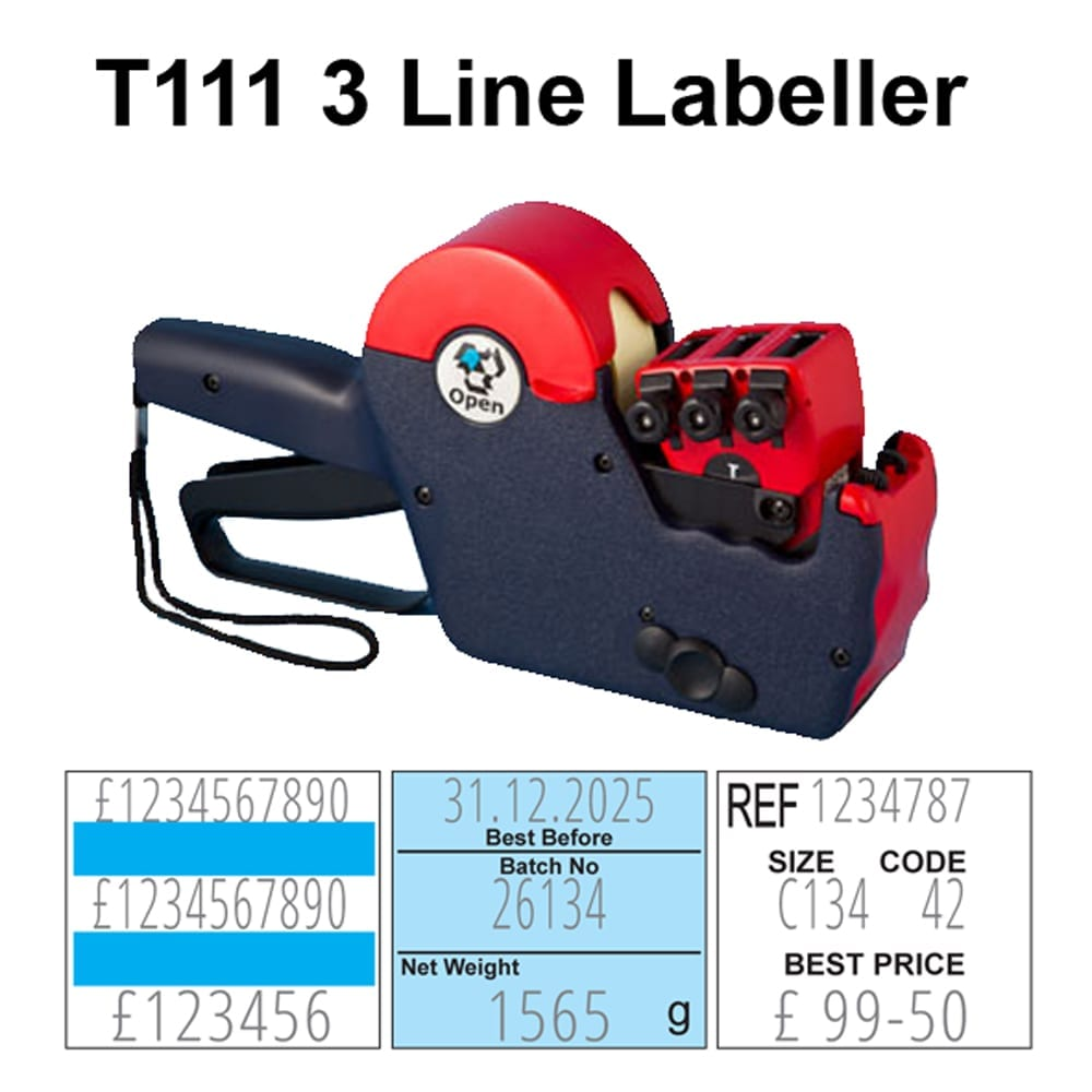 image of Open T111 3 line pricing gun with demonstration of typeface on labels