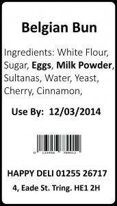 Food labelling changes Belgian Bun Label after December 2014
