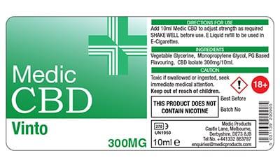 Image of CBD Vape Label for CBDMedicVapes.com