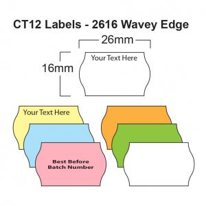 CT12 26 x 16mm Price Gun Labels - Wavey Edge Labels