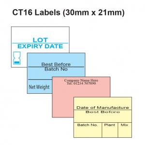 CT16 Labels 30mm x 21mm Label Gun Labels