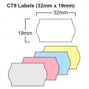 CT9 32 x 19mm Price Gun Labels - Wavey Edge Labels