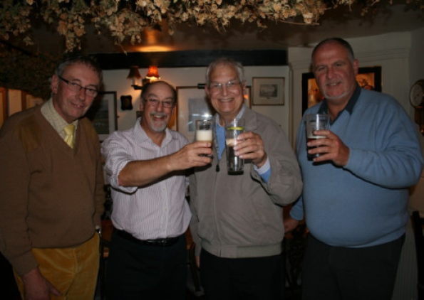 Pub landlord Ken Hague, Steve Kendall of the Dementia Café in Market Harborough, Hugh Gunn from PROSTaid and Mark Brian of the IOGA Committee