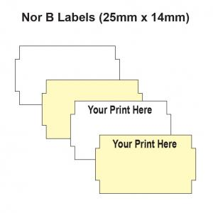 Nor B Labels - 25mm x 14mm Labelling Gun Labels