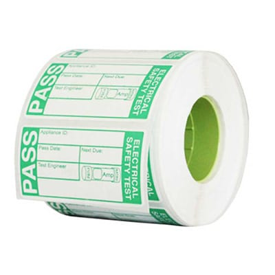 Roll of PAT Tests Certification Labels in green