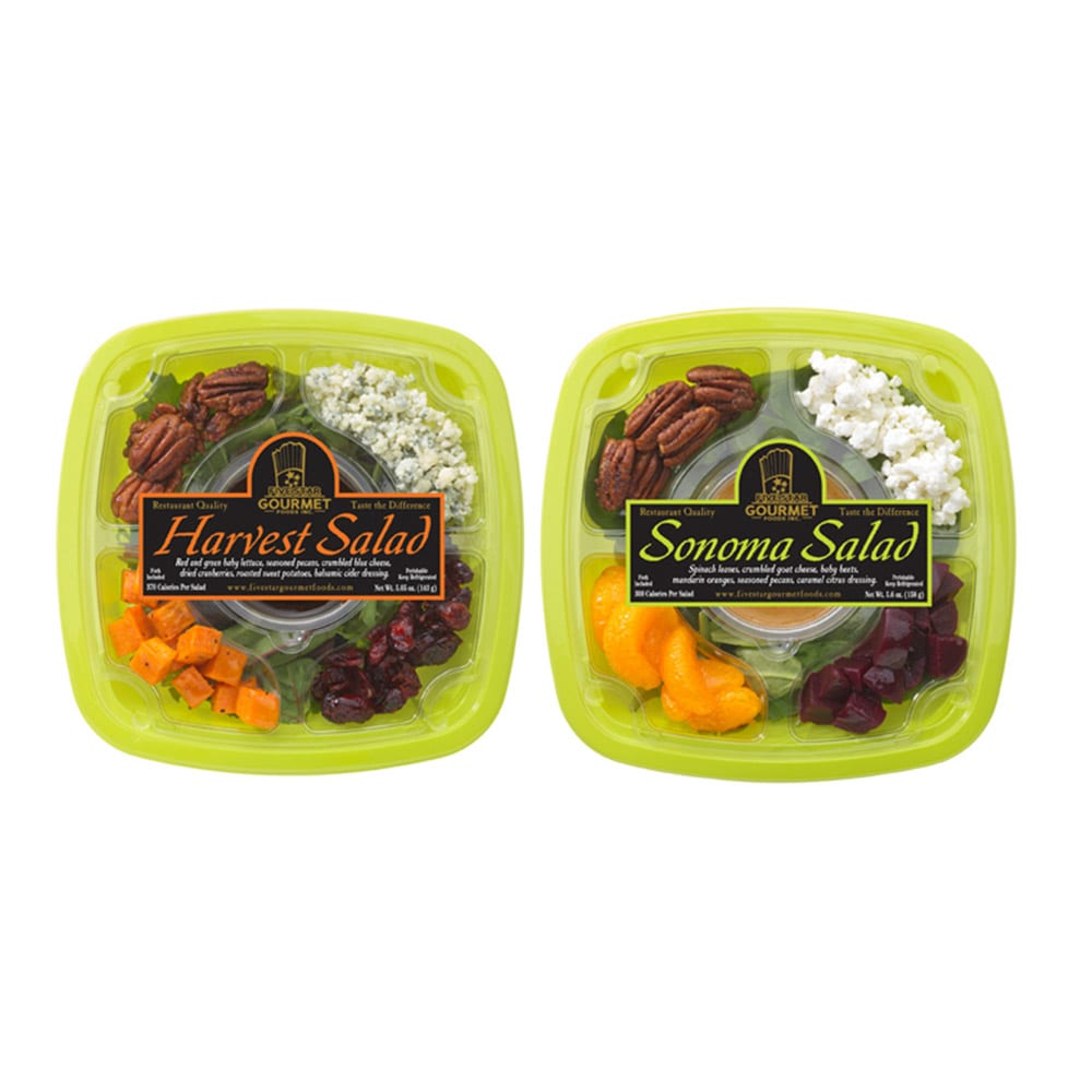 Image of Pre-packed food labels applied to plastic salad bowls with sald in them Product Image