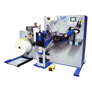 Daco D350 Turreted rewind machine for plain label conversion from leading plain label manufacturer Positive ID Labels