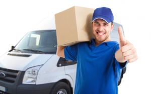 delivery information - picture of a happy delivery man