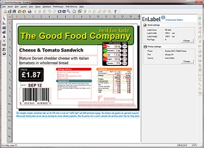 image of enlabel label printing software on computer screen