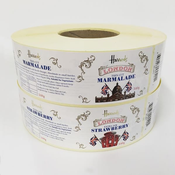 An image of a roll of straberry jam jar labels and marmalade labels from Harrods