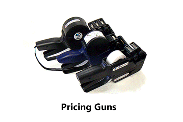 Image of a selection of pricing guns using pricing gun labels