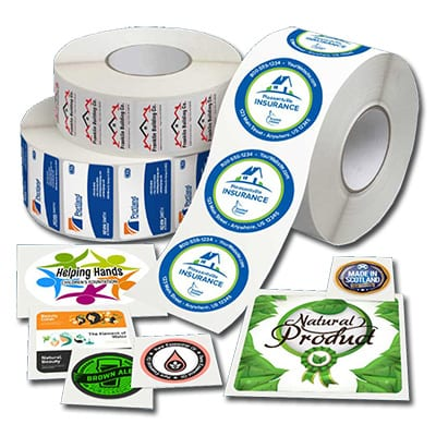 a selection of custom printed product labels laid out