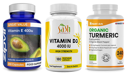 vitamin labelling regulations shown on a selection of vitmain bottles